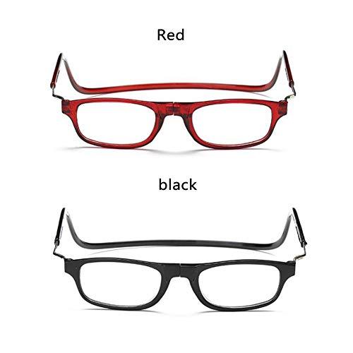 WYCD Lesebrille - Magnetbrillen Leser Brillen - Schwarz/Rot Langer Rahmen - Verstellbarer Vorderseite Verbinden Brille