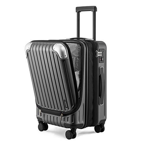 """LEVEL8 Equipaje de Mano 24"""", ABS+PC Expansible Maleta Cabina con Cerradura de Seguridad con Combinación TSA con 8 Ruedas, Maleta para Viajes, Maleta de Cabina 37x55.5x25 cms, 42L, Gris"""