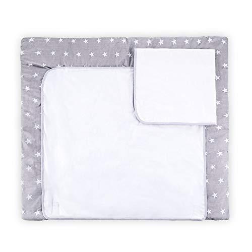 Wickelauflage Wickelunterlage Wickeltisch - Baby Auflage Wickelkommode für Mädchen Junge Musselin Wachstuch Baumwolle 85x75 cm grau mit Sternen