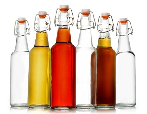 Zuzuro Glass Bottles, 16 oz, Case of 6 with Easy Swing top Cap with Gasket