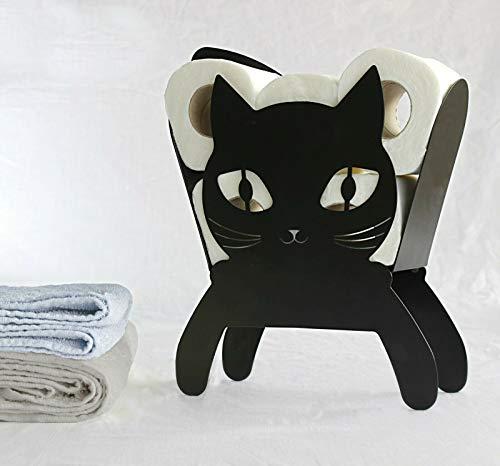 Home Zone Toilettenpapierhalter mit Katzen-Motiv, Metall, für Badezimmer, Kätzchen, Aufbewahrung, Toilettenpapierhalter, Wandmontage, freistehend, geräumig, hält bis zu 5 Rollen