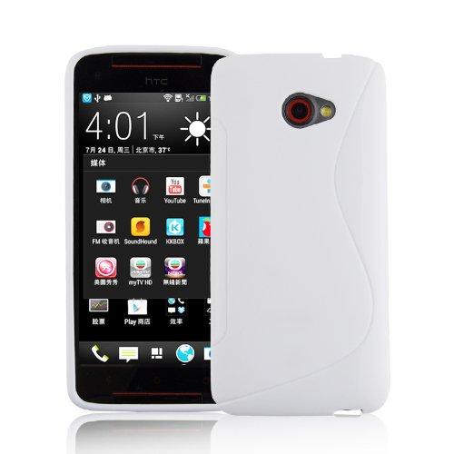 Preisvergleich Produktbild Cadorabo Hülle für HTC Butterfly S - Hülle in MAGENSIUM WEIß Handyhülle aus flexiblem TPU Silikon im S-Line Design - Silikonhülle Schutzhülle Soft Back Cover Case Bumper
