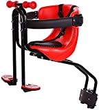 JIBO Portable Child Bicycle Seat, Bicycle Front Seat Child Seat, Detachable Seat, with Backrest and Footrest, can Bear 50kg, Male and Female Infant Safety Seats,Red