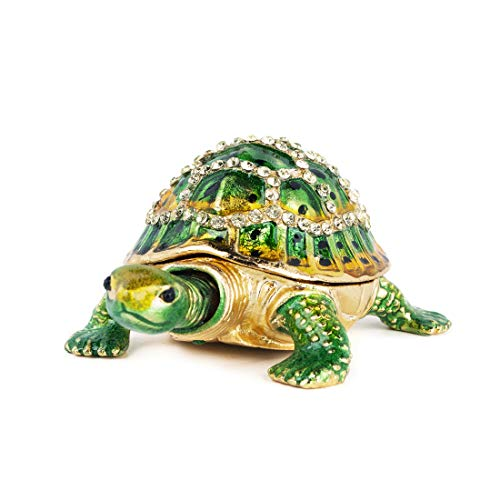 Green Turtle Jewelry Trinket Boxes Hinged,Crystal Bejeweled Turtle Animal Figurines Collectible,Tortoise Lover Gifts