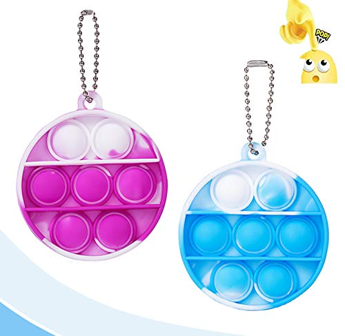 2PCS Mini Stress Relief Hand Toys, Simple Sensory Toys, Bubble Wrap Pop Tie-dye Small Pendant for Anxiety Stress Reliever Kids Adults (Round)