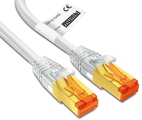 mumbi LAN Kabel 2m CAT 7 Rohkabel Netzwerkkabel S/FTP PimF CAT7 Rohkabel Ethernet Kabel Patchkabel RJ45 2Meter, weiss