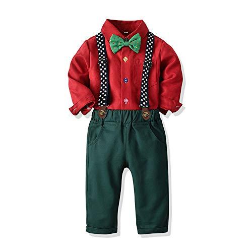Ropa Bebe Conjunto Niño Traje de Vestir Conjuntos de Otoño e Invierno Camisa de Manga Larga Pantalón + Pajarita Tirantes Ropa Niño Caballero 6 Meses a 6 años (Rojo, 18-24M)