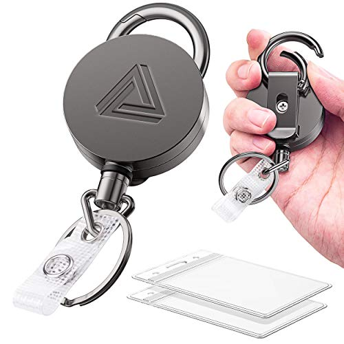 2 Pack Heavy Duty Metal Retractable Badge Holder Reel with Belt Clip Key Ring and Waterproof Vertical Clear ID Card Holder + 2 Extra Carabiner Key Chain Rings, 31 inches Strong Dyneema Pull Cord
