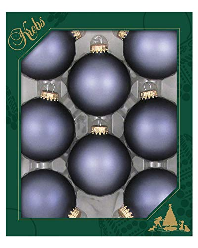Christmas By Krebs Made in The USA Designer Seamless Glass Christmas Ball Ornaments, 2 5/8' (67mm), Bluestone Velvet, 8 Pieces