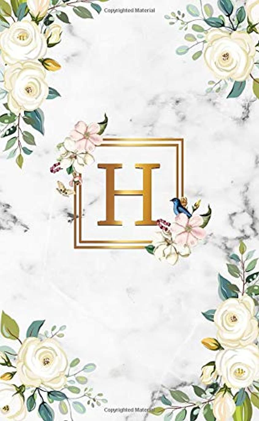 H: Initial Monogram Letter H 2020-2021 Two-Year Monthly Pocket Planner with Phone Book, Password Log and Notes. Cute 2 Year Agenda, Organizer and Calendar - White Marble & Gold White Roses Floral Print