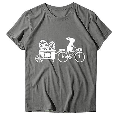 Camisetas para Mujer de Moda Camiseta de Manga Corta con Cuello Redondo Y Estampado de Letras de Pascua para Mujer Camisetas Blancas de Mujer