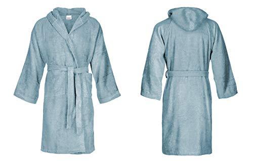 Bassetti - Albornoz con capucha para hombre/mujer, disponible en varias tallas y colores, 100% algodón azul Sky talla M