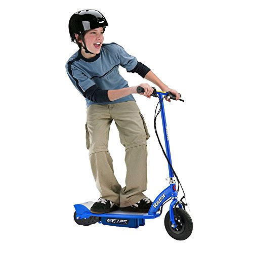 Razor E125 Motorized 24 Volt Rechargeable Blue Kids Electric Scooter Bundled with Glossy Black Youth Helmet and Elbow & Knee Pad Safety Pro Set