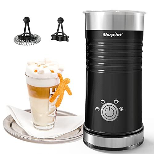 Morpilot Milchaufschäumer Elektrisch, 500W Automatischer Milchschäumer | Milk Frother | Milchwärmer, eine Taste von 4 Modi, Antihaftbeschichtung, 240ml