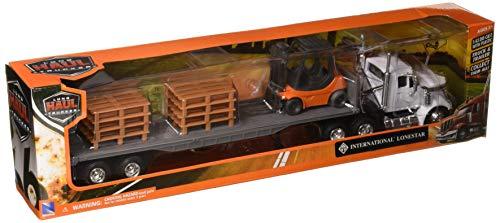 New Ray 16643 Newray 1: 43 Long Haul Trucker - International Lonestar Flatbed with Forklift & Pallets, White