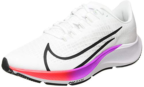 Nike Men's AIR Zoom Pegasus 37 Running Shoe, White Flash Crimson Hyper Violet Spruce Aura Vapor Green Black, 5.5 UK