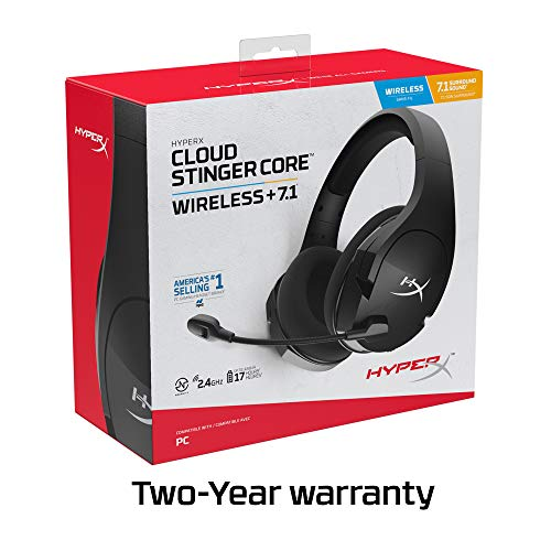 HyperX Cloud Stinger Core Wireless Gaming Headset, for PC, 7.1 Surround Sound, Noise Cancelling Microphone, Lightweight (HHSS1C-BA-BK/G)