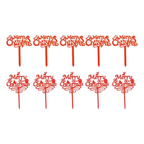 VALICLUD 10 Pezzi Buon Natale Cake Toppers Acrilico Natale Cupcake Toppers Decorazioni per Torte Natalizie Forniture per Feste (Colore Casuale)