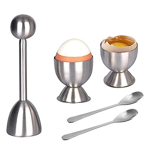 Eierköpfer Set Edelstahl Eieröffner Eier Eierteiler Eierschneider mit 1x Eierköpfer 2X Eierbecher 2X Eier, Küchenwerkzeug