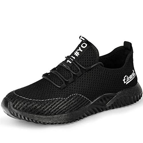 Meng Zapatillas de Seguridad Hombre Impermeable Zapatillas de Trabajo con Punta de Acero Ligeras Transpirable Botas de Seguridad (Color : Black, Size : 43)