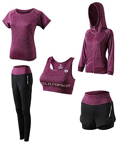 AFDLT dames yoga-kleding, outdoor, sport, fitness, korte broek, hoge taille, leggings, Quick Dry zweetjas, 5-delige set