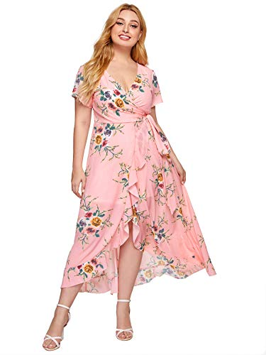 Milumia Plus Short Sleeves Belted Empire Waist Asymmetrical Party Maxi Dress Pink X-Large Plus