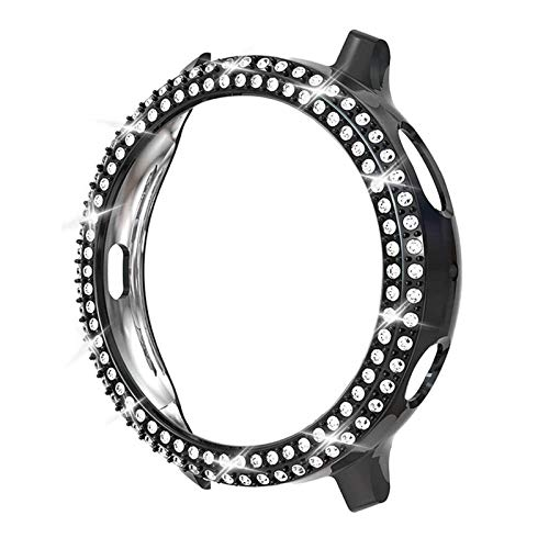 DAAGFC Moda de dos filas de diamante PC parachoques para Galaxy Watch Active 2 Case 40mm 44mm Active2 mujeres Bling Thin Cover Accesorios (Color: Negro, Diámetro de la esfera: Para Active2 44mm)