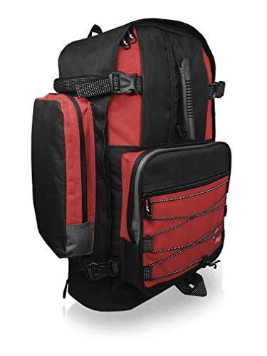 Roamlite Zaino da Campeggio Grande Unisex- 50 a 55 Litri Ideale come Bagaglio a Mano. Perfetto per Escursionismo,Viaggio e Vacanze. Dotato di varie Tasche e Scomparti. Colore Nero Rosso