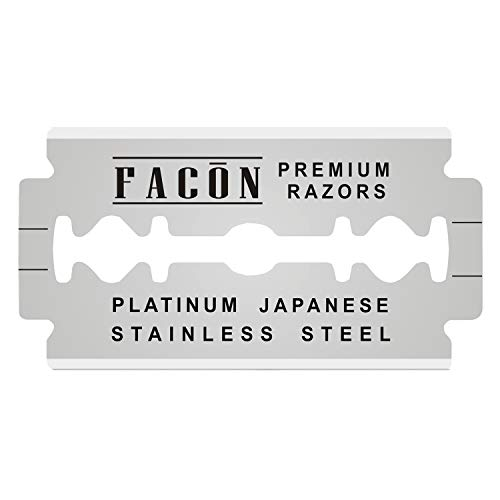 50 Facón Platinum Japanese Stainless Steel Double Edge Razor Blades for Safety Razor - Close Smooth Shaving Experience - 200+ Shaves