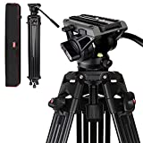Tripod, COMAN KX3636 74 inch Video Tripod System, Professional Heavy Duty Aluminum Tripod with 360 Degree Fluid Head and Mid-Level Spreader 13.2LB Load for DSLR, Camcorder, Cameras and More