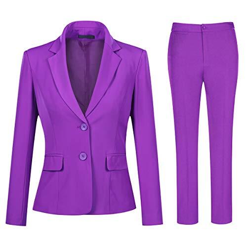 YYNUDA Conjunto de traje para mujer, traje de negocios, ajustado, blazer con pantalones de traje, elegante para oficina y bodas morado S