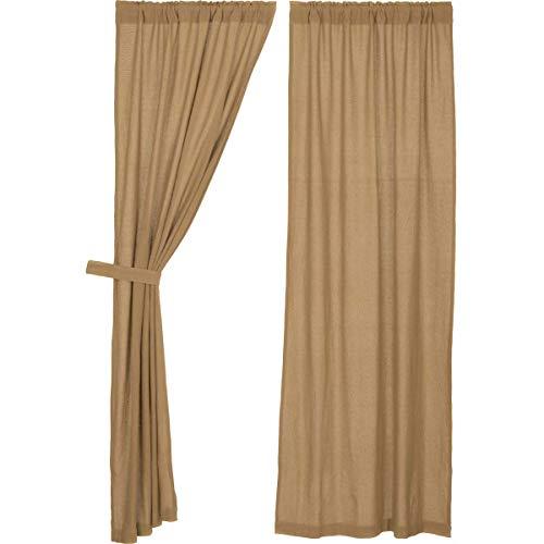 VHC Brands Burlap Natural Curtain, Panel Set 84x40, Tan