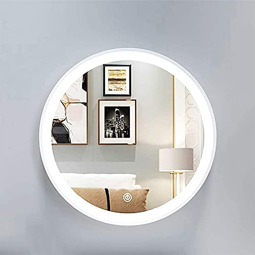 LHZHG Espejo de Pared Redondo con iluminación LED, Espejo de Tocador de Maquillaje Táctil Retroiluminado Iluminado Decoración Mural, Dorado/Espejo de Pared Circular Blanco