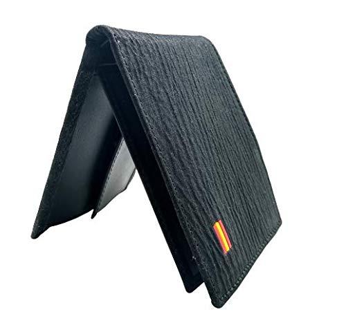 Cartera Auténtica Piel de Tiburón - Cartera Hombre - Sistema antirrobo RFID - Color Negro