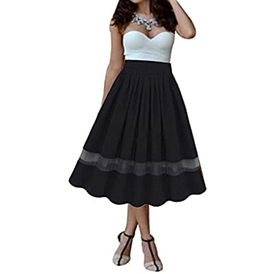 RTYou New Arrived Women Girl Stretch High Waist Chiffon Plain Flared Pleated Long Maxi Skirt Dress
