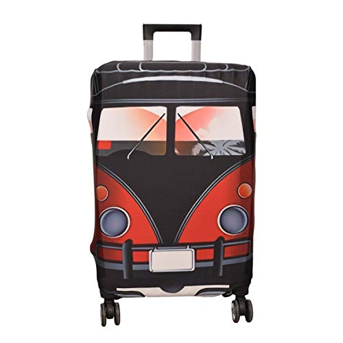 Washable Elastic Luggage Bag Cover Protector Fits 26/27/28 Suitcase Sleeve with Luggage Strap Belt Red Car Size L