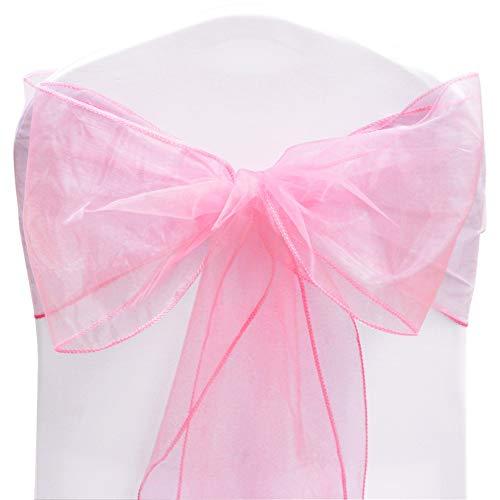 TtS 50PCS Organza Sillón de Silla 22cmX280cm Lazos Para Marcos Arco Decoración Partido Banquete Boda Fiesta Navidad (Pink)
