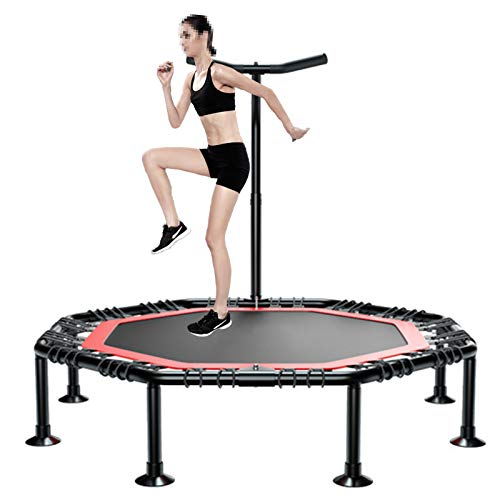 GHH Exercise Trampoline Folding for Adults Fitness Mini Trampoline Silent For Home Cardio Workout Safety Bungee Rope 50inch Fitness Rebounder Indoor Training Max Limit 300kg,45 inches