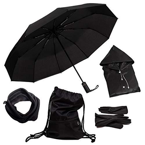 Regenschirm Sturmsicher + Tasche Wasserdicht + Poncho + Schlauchschal + Handschuhe