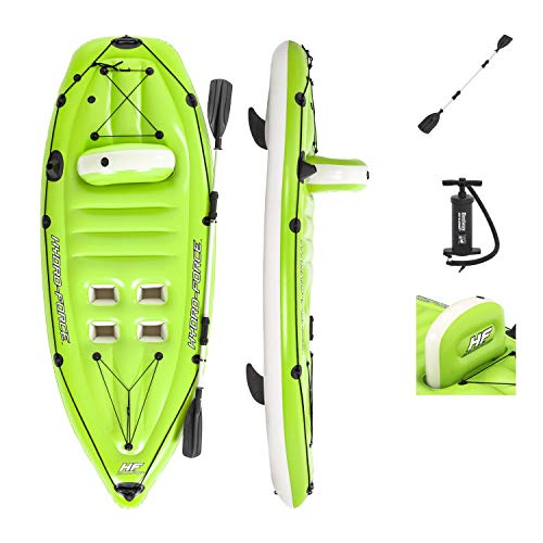 Bestway Hydro-Force Koracle Inflatable Kayak Set, Includes Double-Sided Paddle, Built-In Oar Clasps, Fishing Rod Holders, & Storage Compartments, Convenient & Portable Kayak w/Hand Pump, Model: 65097E