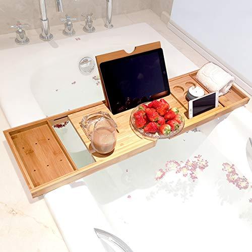 BELOVINGSHOP Badewannenablage Holz, Badewannen Tablett mit Ausziehbar, Beweglich, Tabletthalter für Buch-Tablet-Telefon-Glaskerze, für Meisten Badewannengrößen,Bamboo Color
