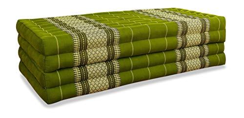 livasia Klappmatratze extrabreit (195cm x 110cm) aus Kapok, Faltbare Gästematratze, klappbare Matratze, asiatische Faltmatratze (grün)