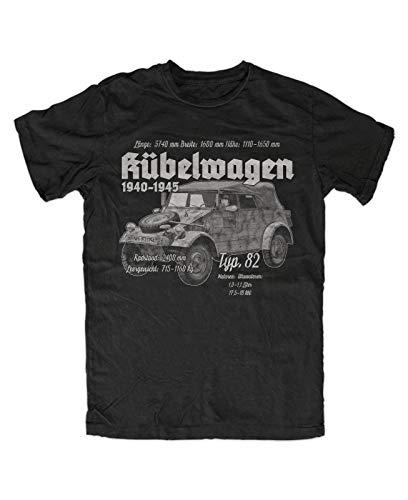 Kübelwagen Typ 82 T Shirt Mens Summer Fashion Tee Shirt, Schwarz Wh WK Fahrzeug Oldtimer Kübel Esatzteile Milit