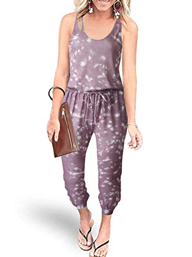 ANRABESS Women Summer Casual Tie Dye Sleeveless Tank Top Elastic Waist Loose Jumpsuit Rompers Sleepwear with Pockets 208zongbaidian-S