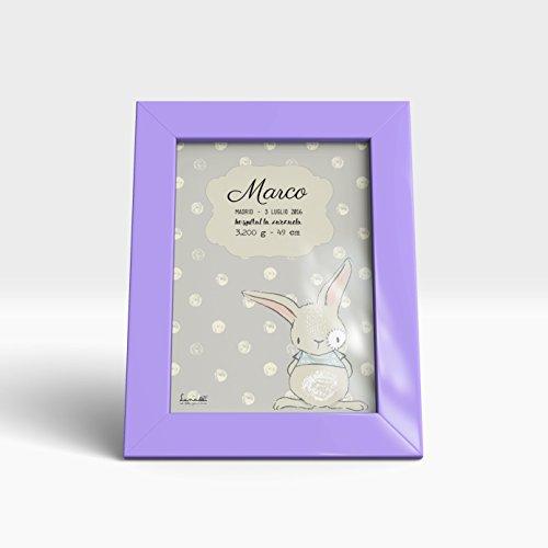 Lunadei personaliseerbaar voor kinderen | Model konijntje Marco | Origineel cadeau voor pasgeborenen | Ideaal voor geboorte en doop | A4-formaat