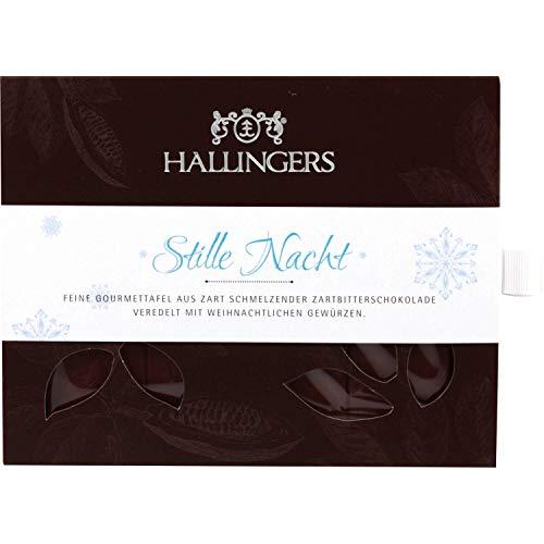 Hallingers Zartbitter-Schokolade mit Gewürzen hand-geschöpft (90g) - Stille Nacht (Tafel-Karton) - zu Weihnachten