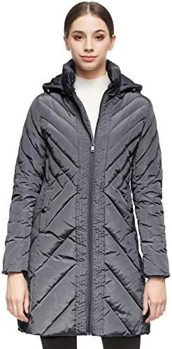 Orolay Women s Down Jacket Winter Removable Hooded Coat Grey S product image