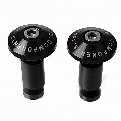 1 Paar Motorrad-Lenkerstecker CNC-Aluminiumlegierung Motorrad-Lenkerend-Schieberkappen für Lenker-Endkappen(Black)