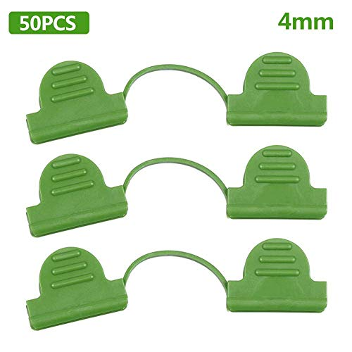 Robeam 50 pieces garden clips plant clips, flower support clips, durable reusable plastic films, greenhouse fittings, garden tool Pack of 50 film clips 4 mm