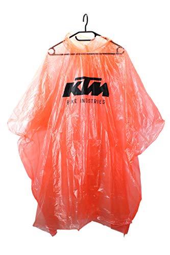 KTM Fahrrad Regen Poncho, Regenschutz 127 x 100cm, Orange mit schwarzem KTM Logo Print